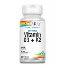 Vitamina D3 + K2  Solaray 60 cápsulas veganas